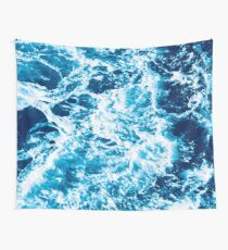 Turquoise Ocean Wave - Electric Marbled Seas Tapestry