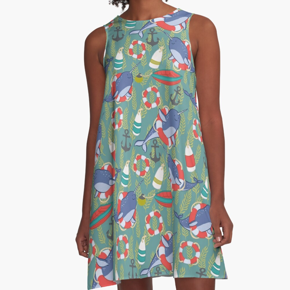 Nautical Narwhals with Anchors, Kelp and Buoys A-Line Dress