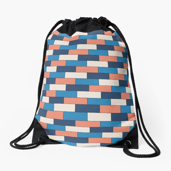 Mediterranean Brick Pattern Drawstring Bag