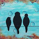 Birds On A Wire - Mixed Media Art by aliciahayesart