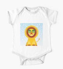 Funny cartoon lion and sky background.  Kids Clothes