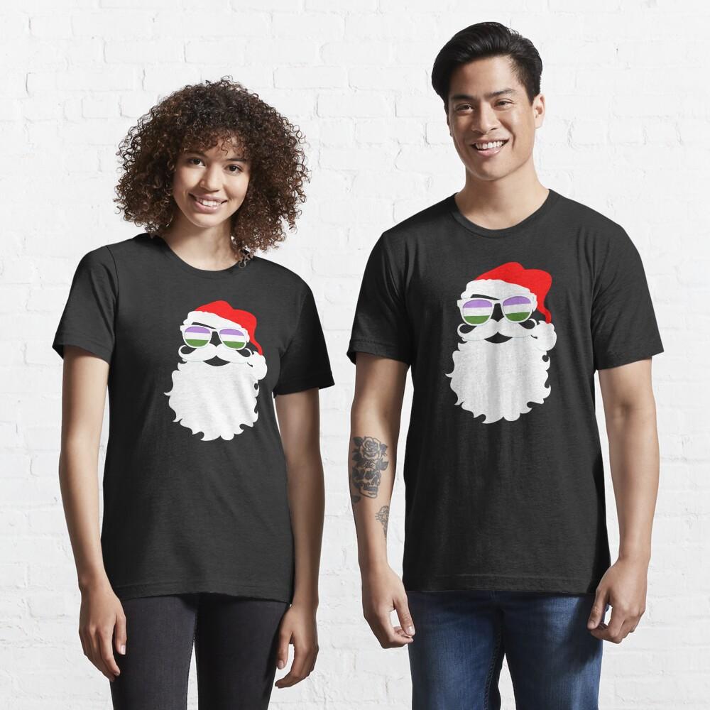 Santa Claus Genderqueer Pride Flag Sunglasses Essential T-Shirt