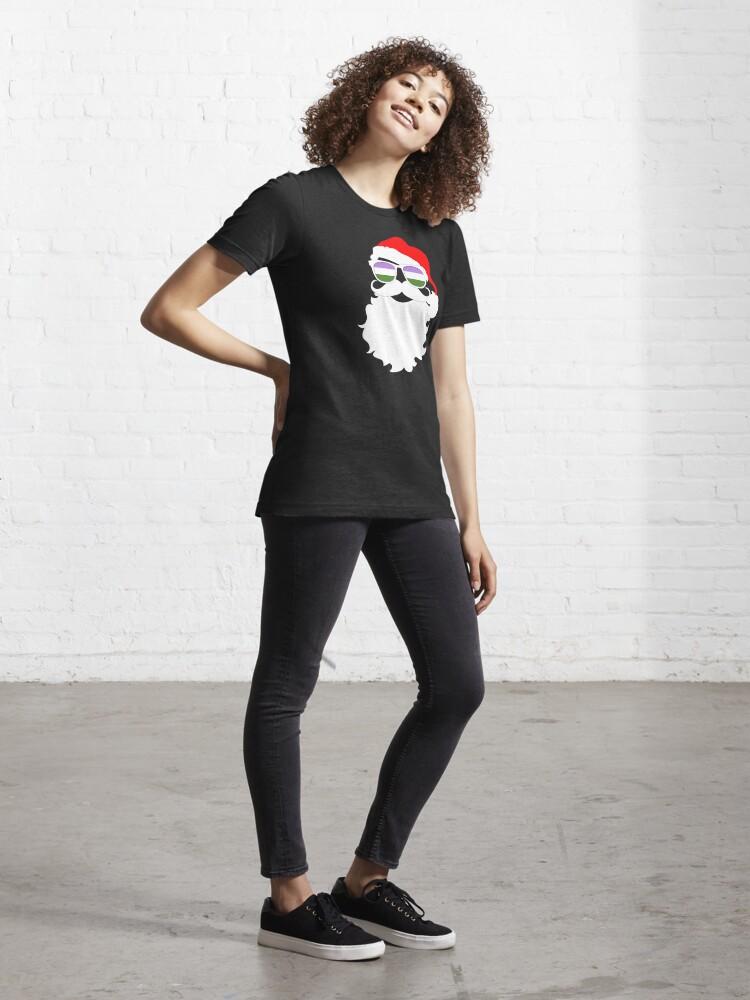 Alternate view of Santa Claus Genderqueer Pride Flag Sunglasses Essential T-Shirt