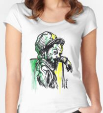 Rastafarian Leaning on Wall Women's Fitted Scoop T-Shirt