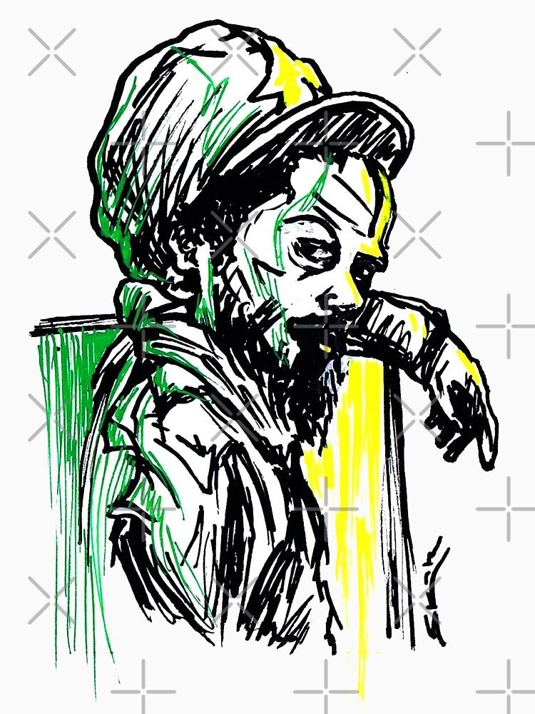 Rastafarian Leaning on Wall by sketchNkustom