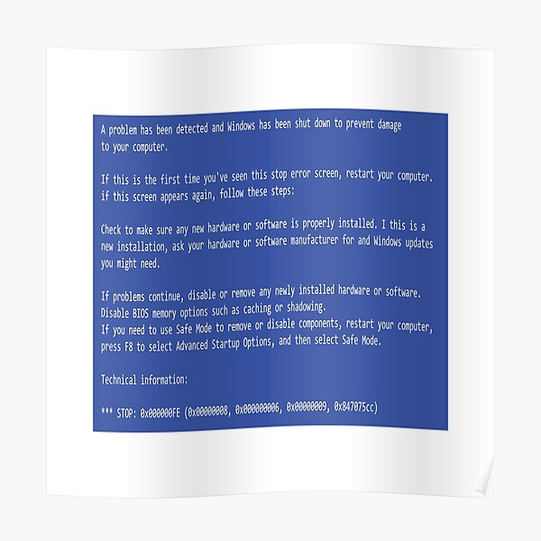 This is a perfect gift for computer users who hates Blue Screen of Death, Classic BSOD Error T-Shirt Poster