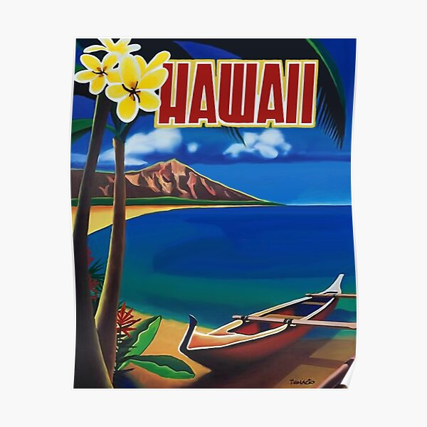 Hawaii, romantic beach, lonely boat, vintage travel poster Poster