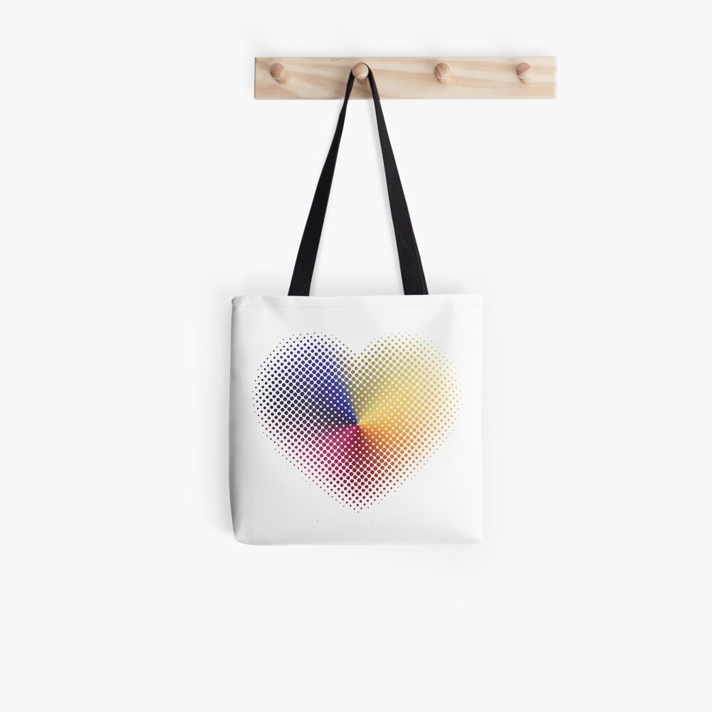 Angle Gradient on Halftone Heart (White) Tote Bag