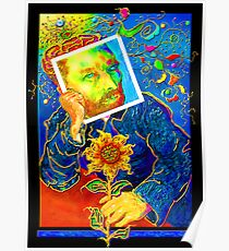 Van Gogh with Sunflower Poster