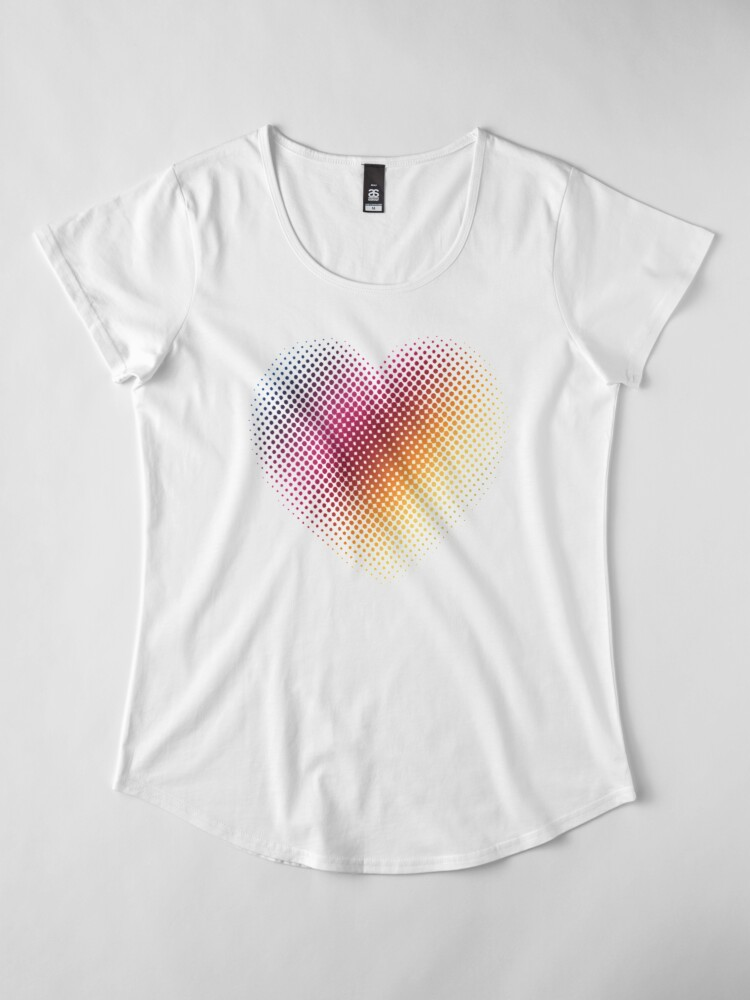 Alternate view of Linear Gradient on Halftone Heart (White) Premium Scoop T-Shirt