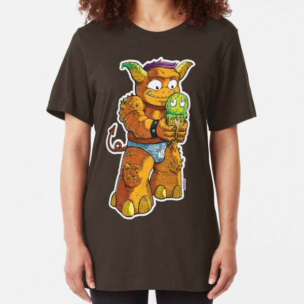 Look Out! Ice Cream Monster Slim Fit T-Shirt