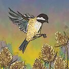 Coal Tit and Teasels by lottibrown