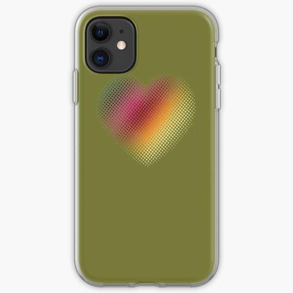 Linear Gradient on Halftone Heart (Pantone Guacamole Green) iPhone Soft Case