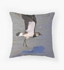 leaping lapwing Throw Pillow