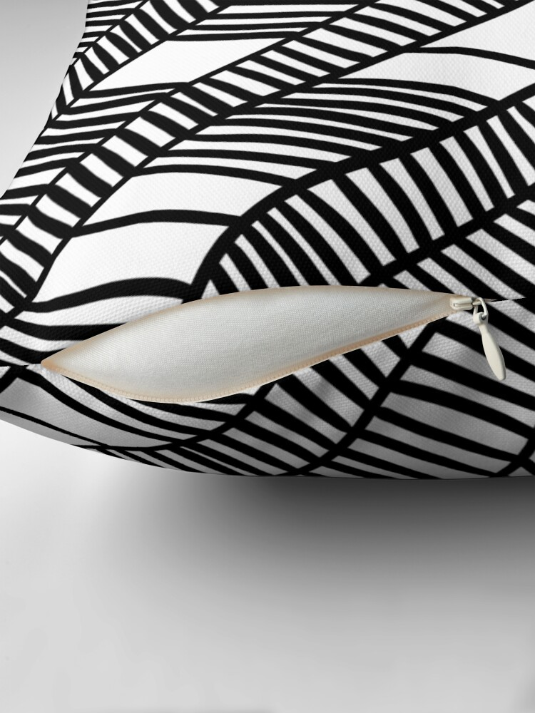 Alternate view of Wavy black and white leaves Throw Pillow