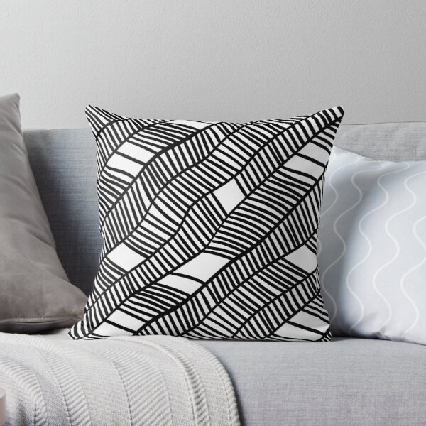 Wavy black and white leaves Throw Pillow
