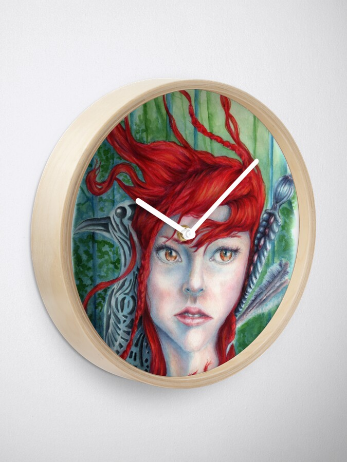 Alternate view of Red Haired Warrior Maiden in a Forest Clock
