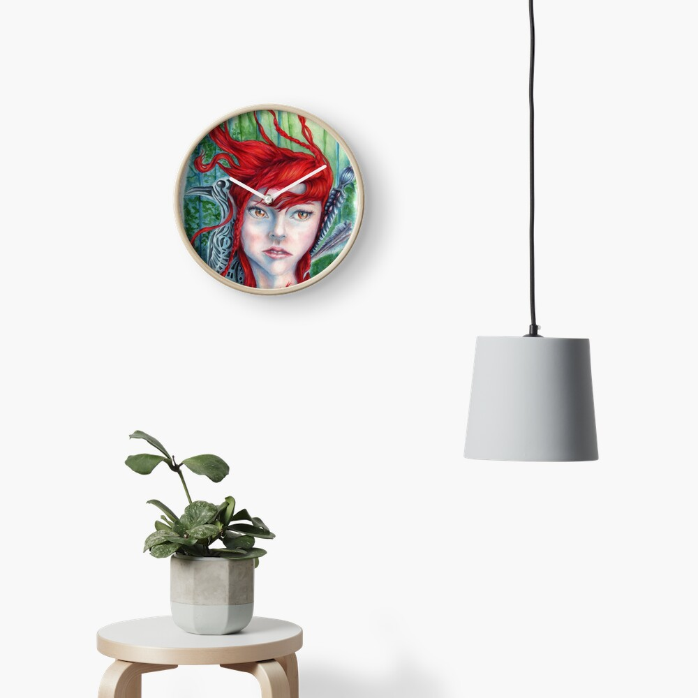 Red Haired Warrior Maiden in a Forest Clock