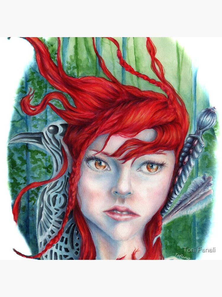 Red Haired Warrior Maiden in a Forest by Tefling