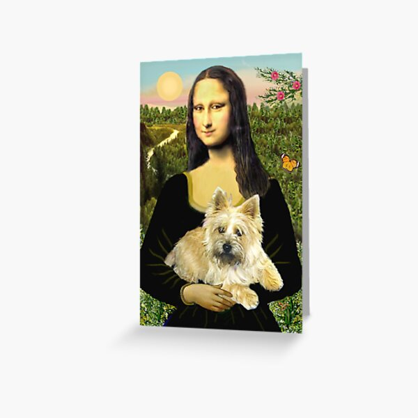 Mona Lisa and her Cairn Terrier (wheaten #6) Greeting Card