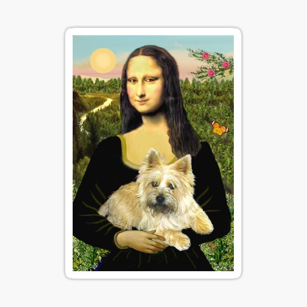Mona Lisa and her Cairn Terrier (wheaten #6) Sticker