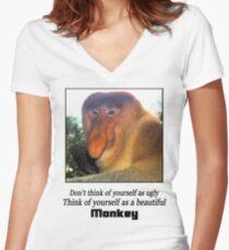 Monkey Shirt  Women's Fitted V-Neck T-Shirt
