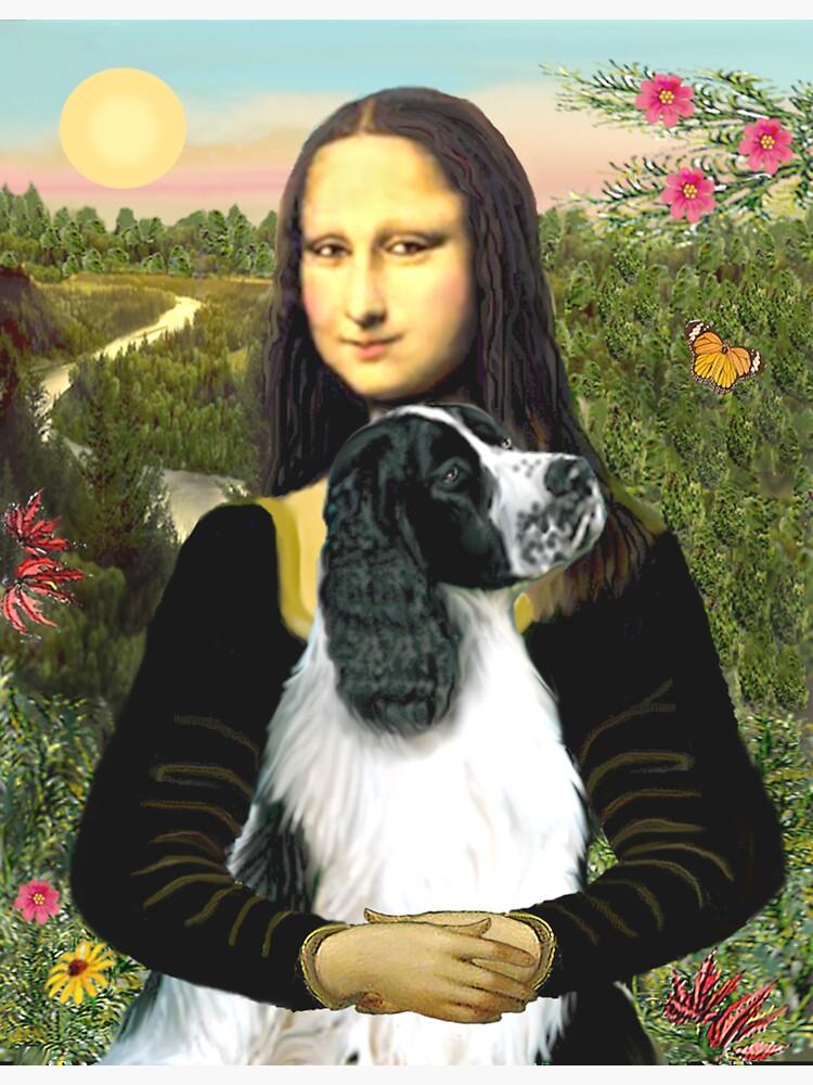 Mona Lisa and her English Springer Spaniel (black-white) by JeanBFitzgerald