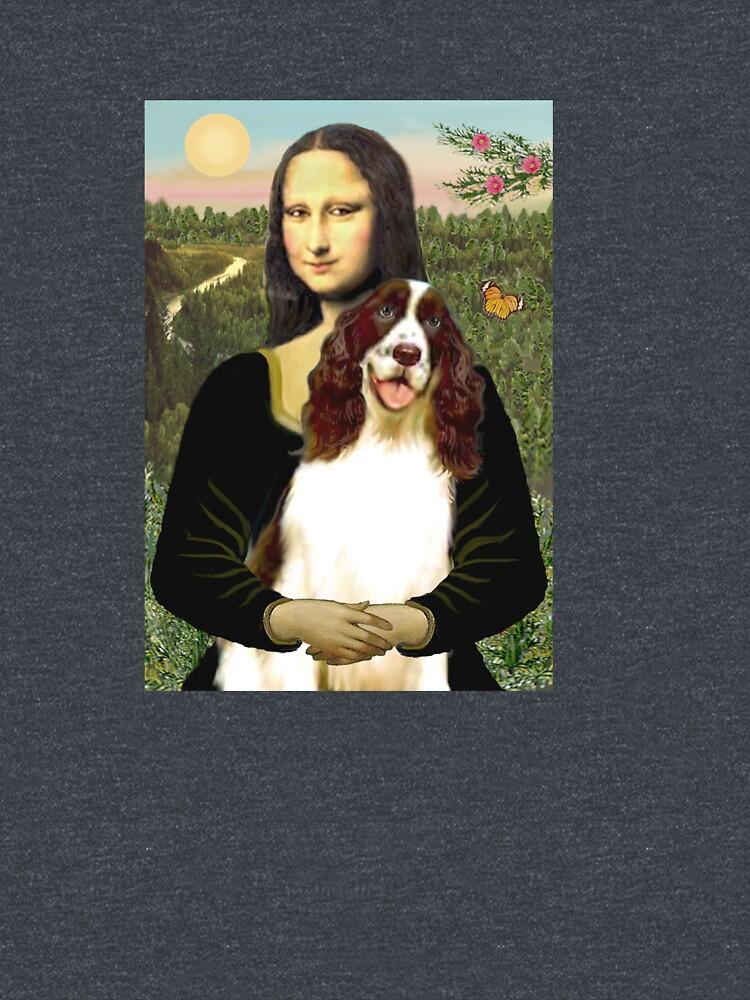Mona Lisa and her English Springer Spaniel liver-white) by JeanBFitzgerald