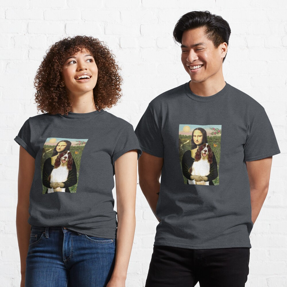 Mona Lisa and her English Springer Spaniel liver-white) Classic T-Shirt