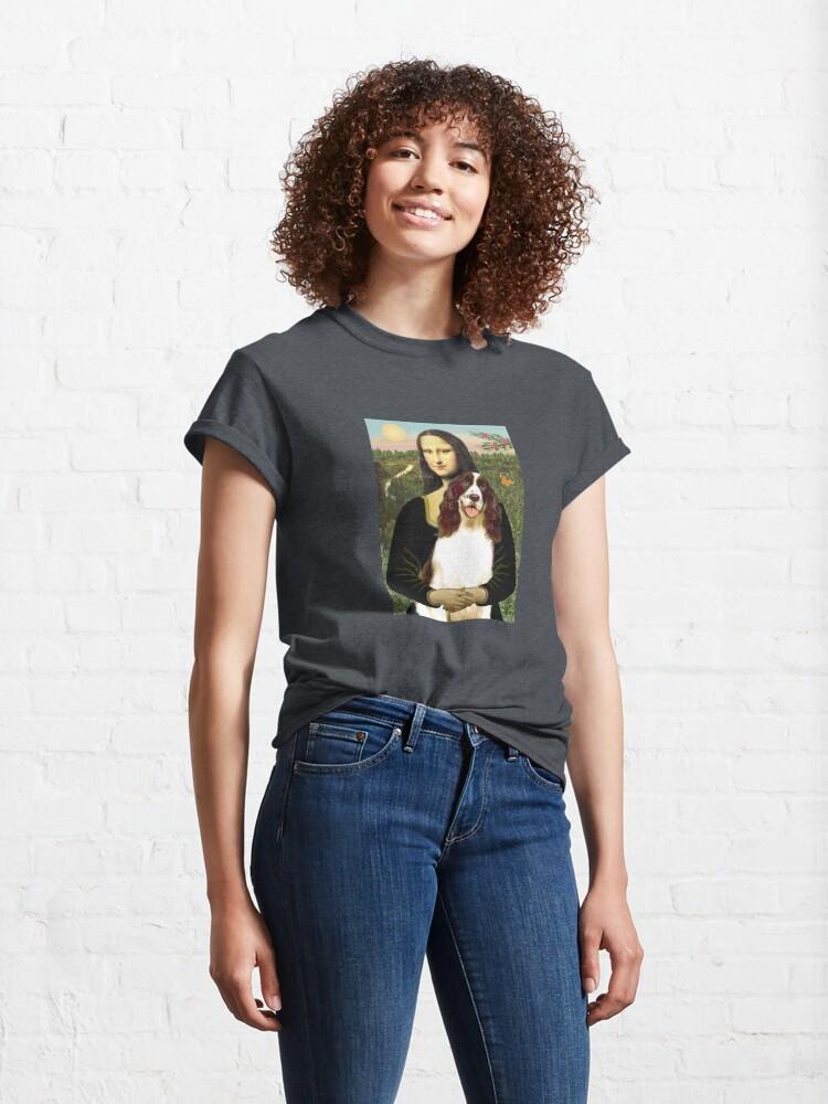 Alternate view of Mona Lisa and her English Springer Spaniel liver-white) Classic T-Shirt