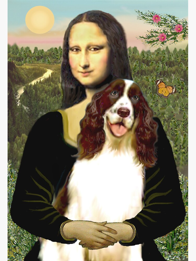 Mona Lisa and her English Springer Spaniel liver-white) by JeanBFitzgerald