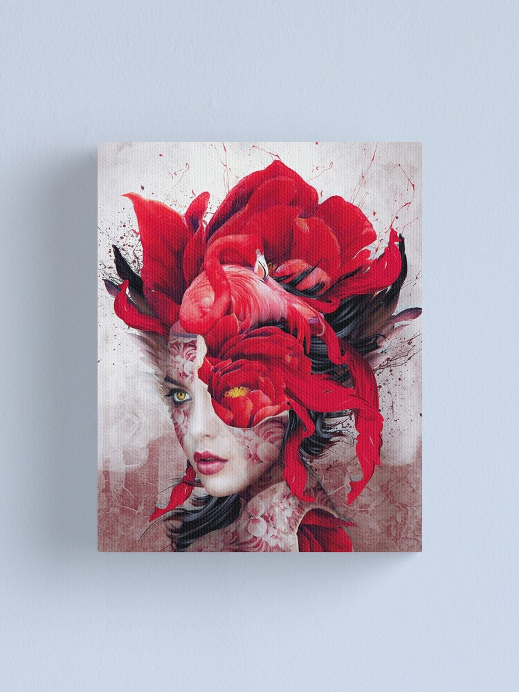 Alternate view of Flamingo Lady Canvas Print