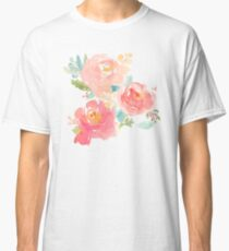 Peonies Watercolor Bouquet Classic T-Shirt