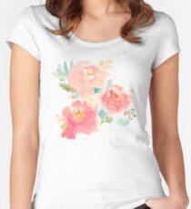 Pfingstrosen-Aquarell-Blumenstrauß Tailliertes Rundhals-Shirt