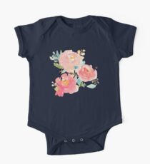 Peonies Watercolor Bouquet One Piece - Short Sleeve
