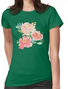 Peonies Watercolor Bouquet Womens Fitted T-Shirt