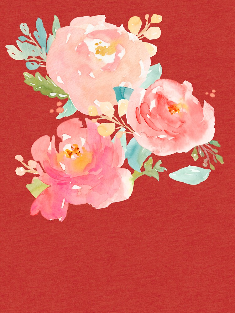 Peonies Watercolor Bouquet by junkydotcom