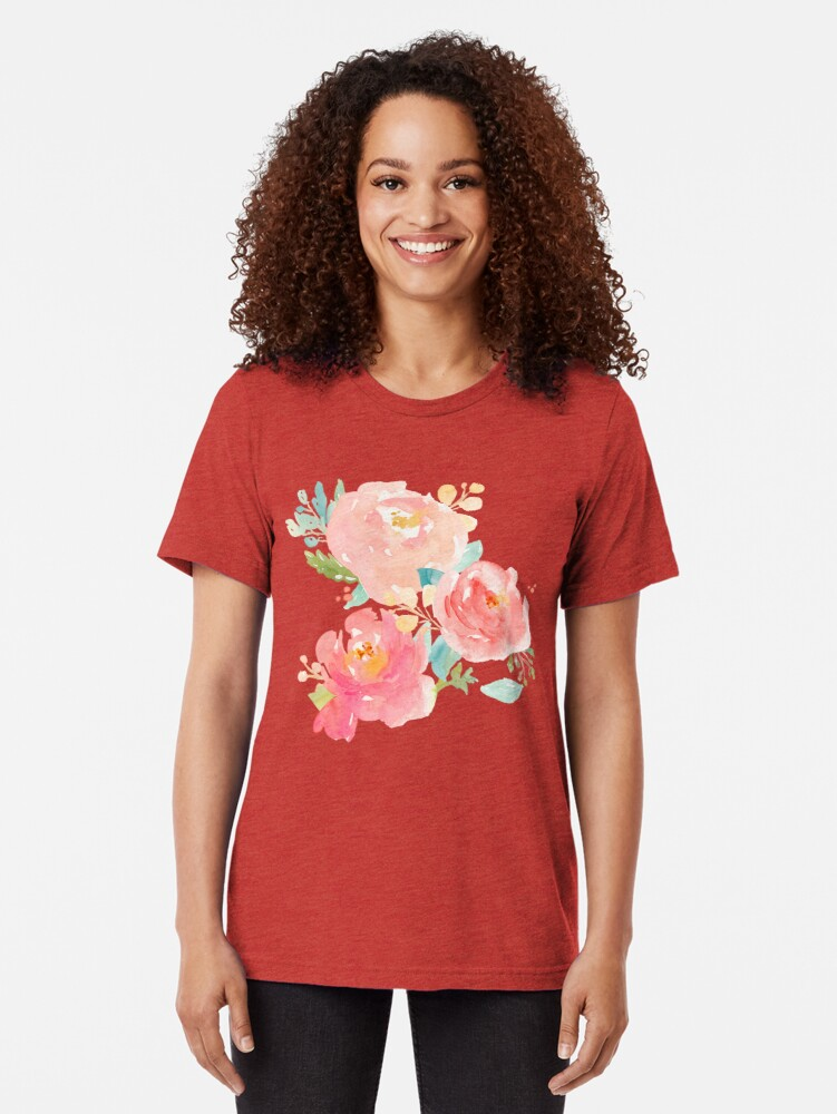 Alternate view of Peonies Watercolor Bouquet Tri-blend T-Shirt