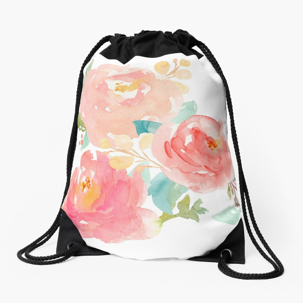 Peonies Watercolor Bouquet Drawstring Bag