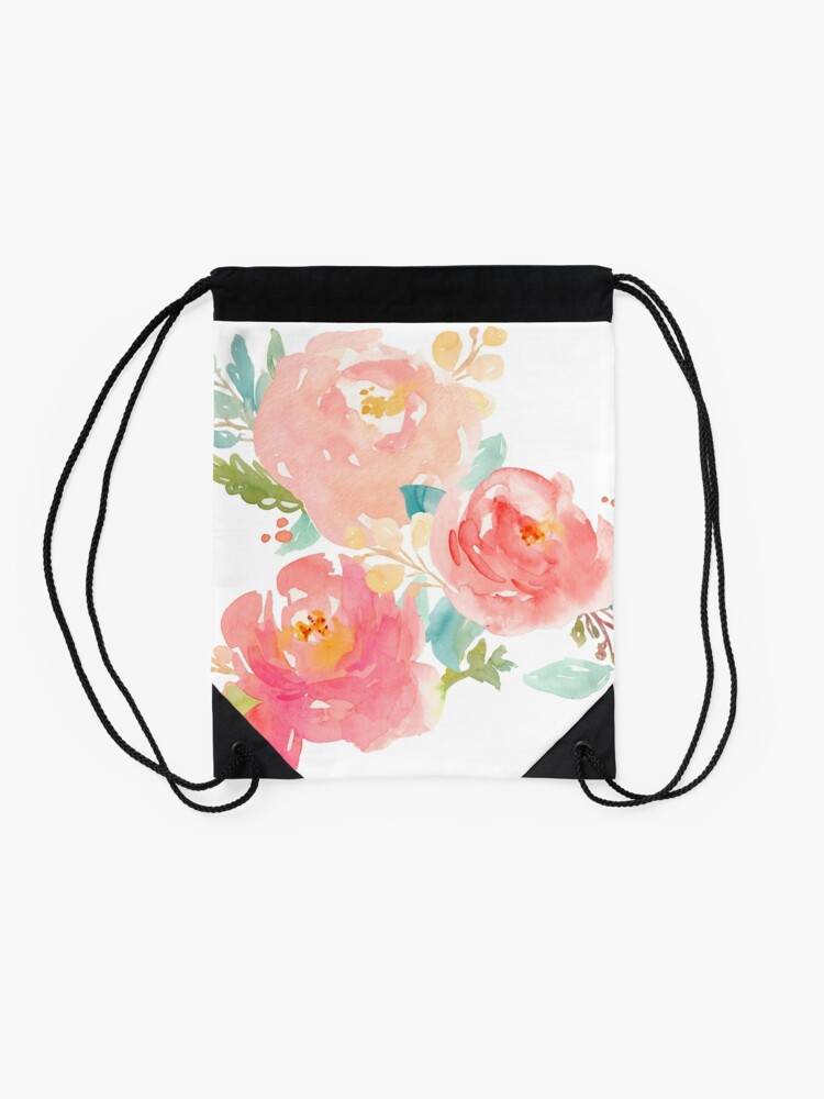 Alternate view of Peonies Watercolor Bouquet Drawstring Bag