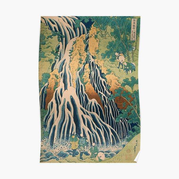 Hokusai Pilgrims at Kirifuri Waterfall Japanese Art Poster