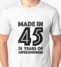 74th Birthday Gift Adult Age 74 Year Old Men Women Dad Mom Grandma Grandpa Slim Fit T-Shirt