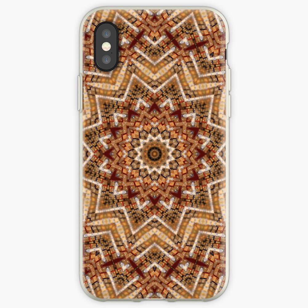 Hell- und dunkelbraunes Mandala iPhone-Hüllen & Cover