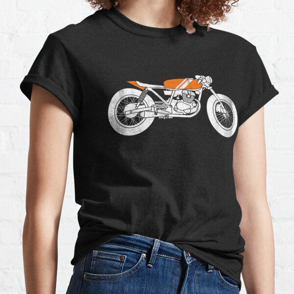 Cafe Racer Take the Long Road classic motorcycle t-shirts Earth Colour