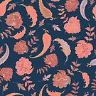 Patterns of Paradise - Coral & Blue by lottibrown