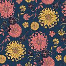Multi Florals in Coral and Blue by lottibrown