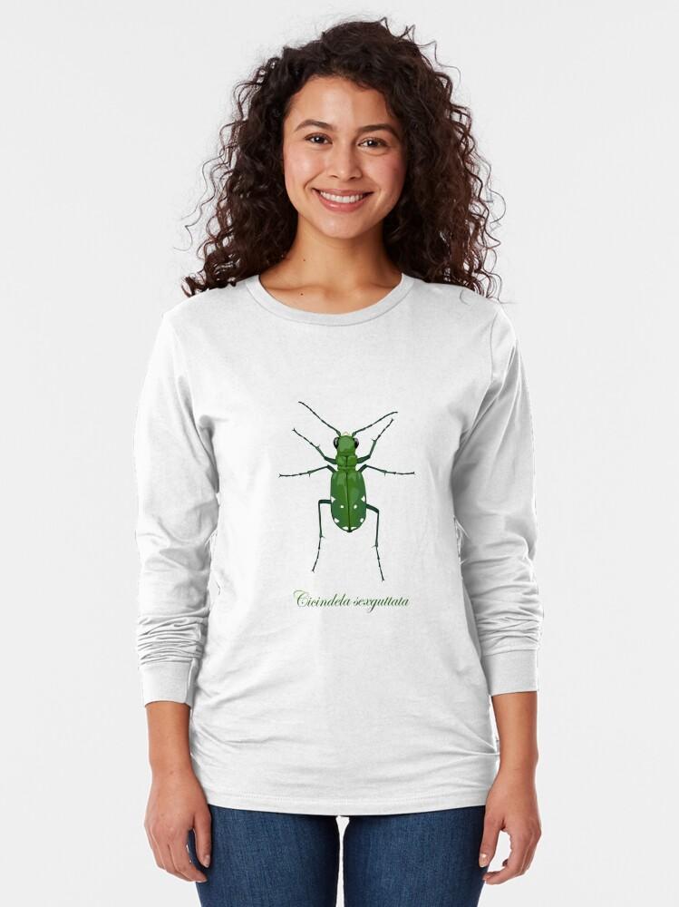 Alternate view of  Six-spotted green tiger beetle, Cicindela sexguttata Long Sleeve T-Shirt