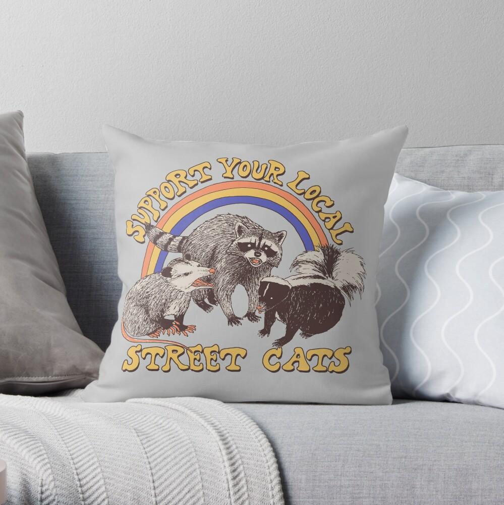 Street Cats Throw Pillow