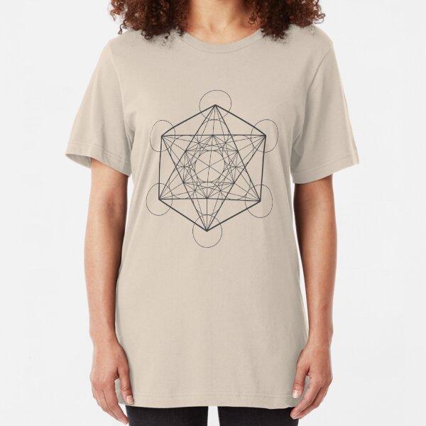 Metatron's Cube (light background) Slim Fit T-Shirt
