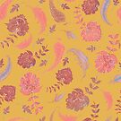 Patterns of Paradise - Yellow & Coral by lottibrown